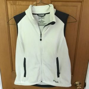 Ll bean white fleece vest